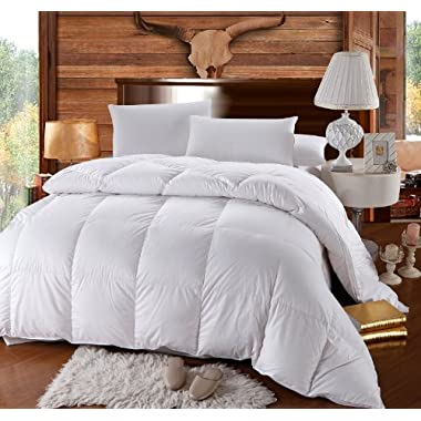 King Size Down-Comforter 500-Thread-Count Down Comforter 100 percent Cotton 500 TC - 750FP - 60Oz - Solid White