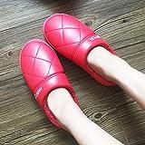 QPPQ Pantuflas cálidas para Hombres y Mujeres,Zapatillas Gruesas de Invierno, Zapatillas de algodón Antideslizantes Impermeables.-Rojo 1_38/39,Pantuflas con Forro de Felpa