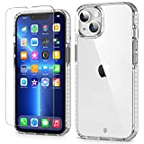 SHIELDON Funda Compatible con iPhone 13, [Tira a Prueba de Golpes] [Protector de Pantalla de Vidrio Templado] [Antiarañazos] [PC Dura+Suave TPU], Funda Claro para iPhone 13 5G(6.1',2021), Transparente