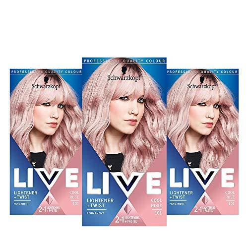Schwarzkopf Live Lightener + Twist Pink Hair Dye, 3-Pack Permanent Colour with 2-in-1 Lightening +...
