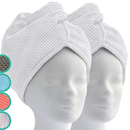 ELEXCARE Toalla turbante de microfibra absorbente para un rápido secado de pelo (Paquete de toallas, 2 unidades, blanco, ca. 28x65 cm). Todo tipo de cabello.