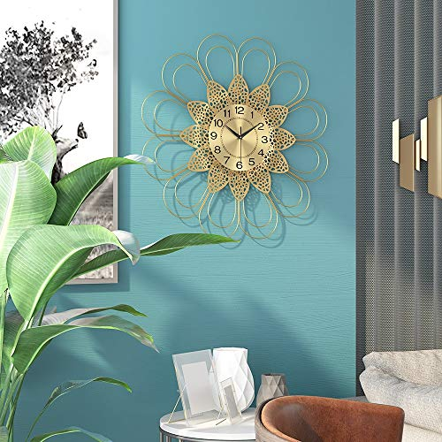 Scra AC Reloj de pared de metal nórdico, silencioso, creativo, minimalista, sala de estar, dormitorio, pasillo, 68 x 68 cm