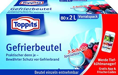 Toppits Gefrierbeutel Vorratspack, 2 Liter, 80 Stück, Standboden, Transparent