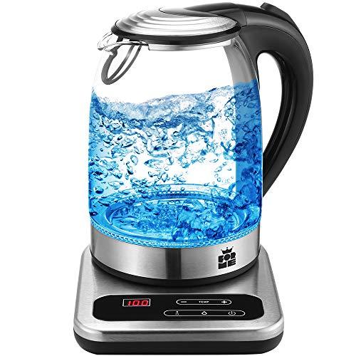ForMe Glas Wasserkocher 1.8 mit Temperatureinstellung LED nur Blau Temperaturwahl 40-100°C Temperatur einstellbar Glaskessel I Glaswasserkocher Edelstahl I Teekessel mit Warmhaltefunktion I BPA Frei