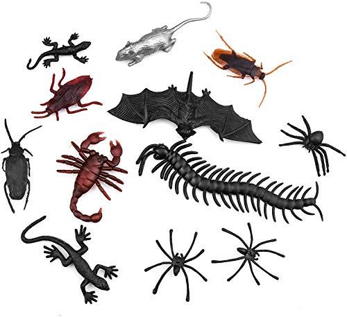 COCOCITY 44 piezas de Halloween realistas insectos de plástico, arañas, calves-Suris, moscas, cucarachas, mallas para fiesta de Halloween