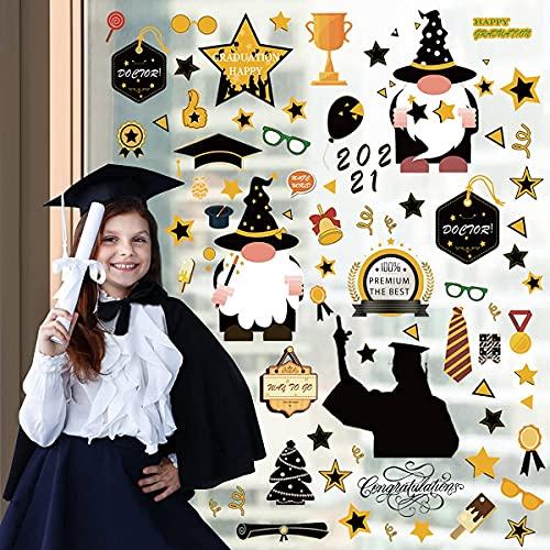 188 Pcs Graduación Ventana Decoración 2021 Extraíble Graduación Ventana Calcomanías Pegatinas Gnomos Suministros de Fiesta de Graduación Para Colegio Secundaria Casa Graduación Fiesta Decoraci