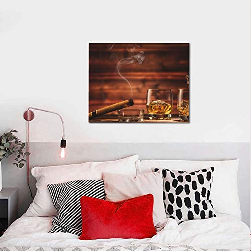 Vintage Whisky Cigar Paint by Numbers for Adults Beginner Canvas DIY Oil Painting for Home Wall Decor 16 x 20 inches