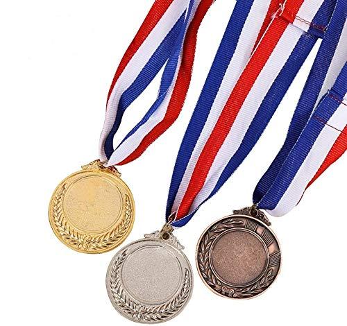 TOYMYTOY Medallas ganadoras del premio, medallas con collar dorado, plata y bronce, para niños, competición, fútbol, fiesta, Favor, 5,1 cm, 3 unidades