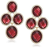 Anne Klein Women's Gold Tone and Burgundy Oval Stone Chandelier EZ Comfort Clip Earrings, One Size