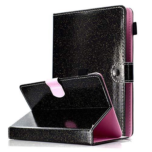 MYTHOLLOGY Housse Universel pour Tablette de 9-10 Pouces, Bling Glitter Sparkle PU Cuir Coque Etui Compatible avec Acer Iconia One 10 B3-A40 - Noir