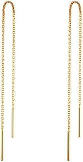 OMTBEL STOOLY 14k Gold Earrings for Women Dangle Earrings Drop Thread Dangling Earrings Minimalism Dipped Long Chain Earring