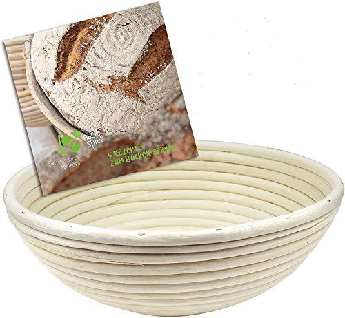 Backspiel Gärkorb rund zum Brotformen naturbelassen mit Brotrezepte eBook Gärkörbchen Brotbackform Brot Backen Zubehör