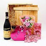 algawe Geschenkset Love   Holzkiste Geschenkbox   Italienischer Rotwein 0,75l   Lindt und Schoko...