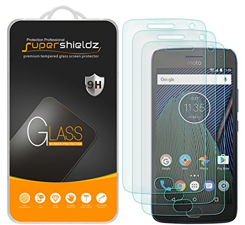 Supershieldz (3 Pack) for Motorola (Moto G5 Plus) and Moto G Plus (5th Generation) Tempered Glass Screen Protector, Anti Scratch, Bubble Free