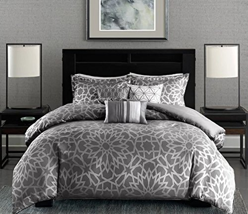 7 Piece Woven Floral Medallion Design Comforter Set King Size, Featuring Unique Bold Metallic Flower All Over Motif Comfortable Bedding, Contemporary Stylish Glam Bedroom Decoration, Grey, Silver