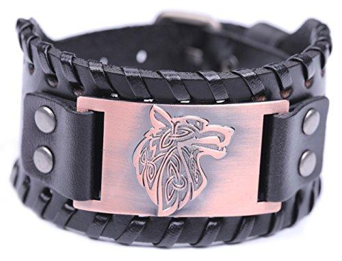Lemegeton Pagan Celtic Knot Wolf Fenrir Cuff Wide Leather Bracelets Viking Punk Jewelry for Men (antique copper)