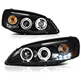 [For 2005-2010 Pontiac G6] LED Halo Ring Black Projector Headlight Headlamp Assembly, Driver & Passenger Side