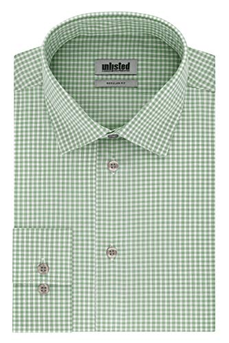 Unlisted by Kenneth Cole Men's Dress Shirt Regular Fit Checks and Stripes (Patterned), Ash Green, 16'-16.5' Neck 34'-35' Sleeve (Large)