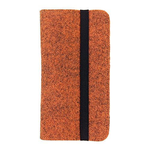 handy-point Universal Organiser for Smartphone Felt Case with Card Compartment for Samsung, iPhone, Huawei (5.3-5.5 Inch Max 16.5 x 8.3 cm, Melange: Orange)