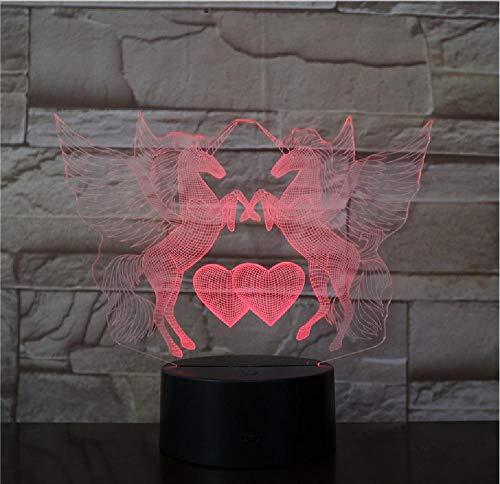 3D eenhoornlamp, paard, nachtlampje, touch-tafel, schrijftafel, lamp, meerdere kleuren, verandert optisch illusie lamp, led-kerstcadeau, decoratief licht, afstandsbediening telefoon, bluetooth-besturingskleur
