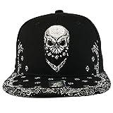 Trendy Apparel Shop Skull Bandana Embroidered Snapback with Paisley Print Flatbill Cap - Black