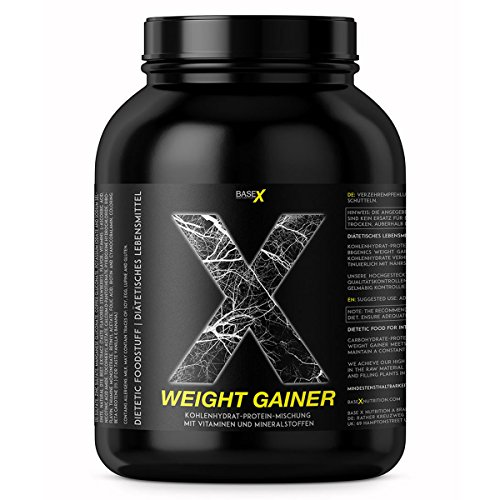 base X nutrition, WEIGHT GAINER, optimum Protein / Kohlenhydrate Basis für schnellen Masse- u. Muskelaufbau, 750g Dose Vanille