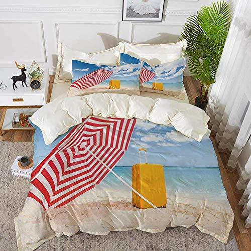 ropa de cama - Juego de funda nórdica, amarillo y azul, Windy Sandy Beach con sombrilla y carro Summer Summer Relax Pictur, Juego de funda nórdica de microfibra hipoalergénica con 2 fundas de almohada