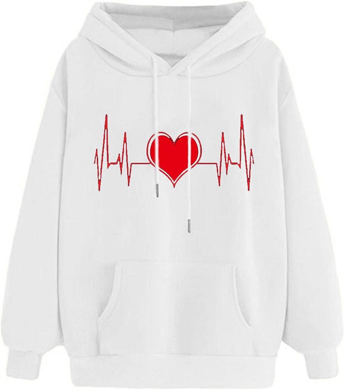 Toeava Hoodies for Women, Women's Casual Fashion Heart Print Thermal Pocket Pullover Sweatshirt Long Sleeve Blouse Tops