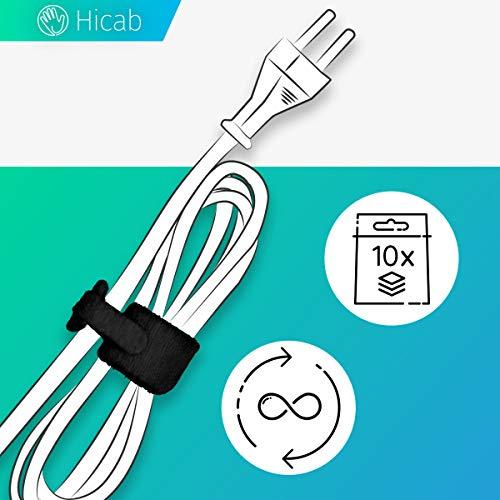 Hicab 10x Klett-Kabelbinder mit Schlaufe (Loop), 17 cm, schwarz. Ideal für Ladekabel mobiler Geräte. Klettbinder aus sehr hochwertigem, dichten Haken- und Flausch-Material (doppelseitig). 14 mm Breit