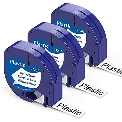Unistar kompatible Band als Ersatz für Dymo Plastic White 12mm x 4m, Letratag Kunststoff Schriftband für Letratag LT-100H LT-100T XR (Recharge Dymo Letratag Etikettenband 91221 /S0721660)