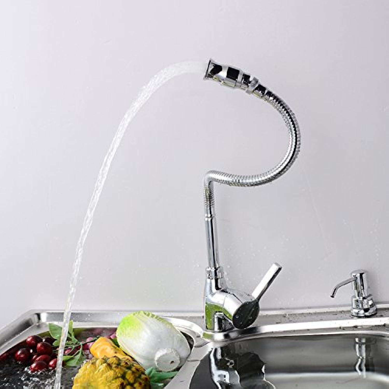 Küche mit herausziehbarer Dual-Spülbrause,Kaltes und Heies Wasser Vorhanden Messing verchromt Robinet de cuisine lavabo robinet de cuivre chaud et froid, robinet évier robinet de lavabo télescopique
