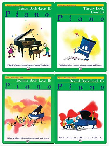 Alfred's Basic Piano Library: Level 1B Books Set (4 Books) - Lesson Book 1B, Theory Book 1B, Technic Book 1B, Recital Book 1B