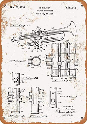 20x30cm Blechschild 1939 Selmer Trompete Patent Vintage Look Metallschild