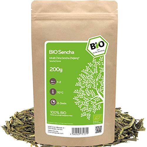 amapodo - Grüner Tee Bio 200g - Sencha - Green Tea - Grüntee lose - camellia sinensis - Kaffee Alternative mit Koffein - kleine Geschenke für Frauen & Männer