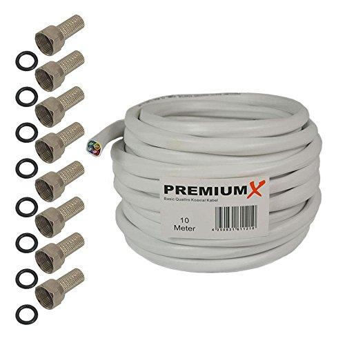 PremiumX 25m SAT Starter Set Quattro-Kabel 4in1 Koaxialkabel Digital 4 Kabel Antennenkabel inkl. 8X F-Stecker mit Dichtring HDTV