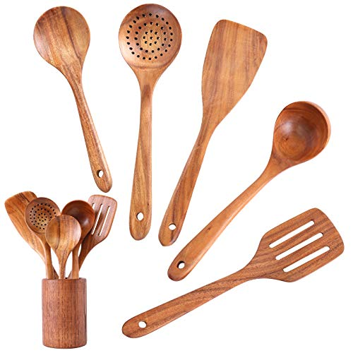 InnoStrive Wooden Spoons For Cooking 6 pack Wooden Utensils For Kitchen Natural Teak Wooden Spoons And Spatula With Holder