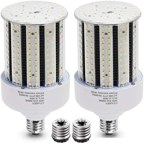 2 Pack 50w Corn LED Light Bulb E26 E39 led Bulbs 120 277v 5000k Led Replacement HID HPS Mercury product image