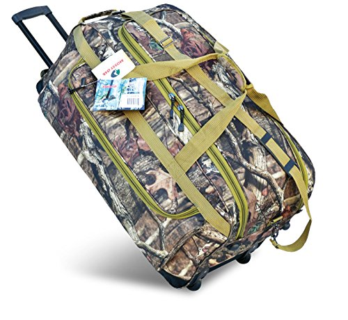 Explorer Hunting Luggage Travel Bag Mossy Oak -Realtree Outdoor Like- Hunting Camo Heavy Duty Rolling Duffel Bag with Pulling Handle Wheels with Adjustable Removable (22inchRollingMossyOak)