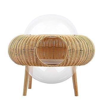 ZWW Lit pour Animaux en Osier, Maison De Chat Surélevée en Dôme Acrylique Transparent Rotin Mobilier De Chat Moderne Canapé Panier-Intérieur/Extérieur