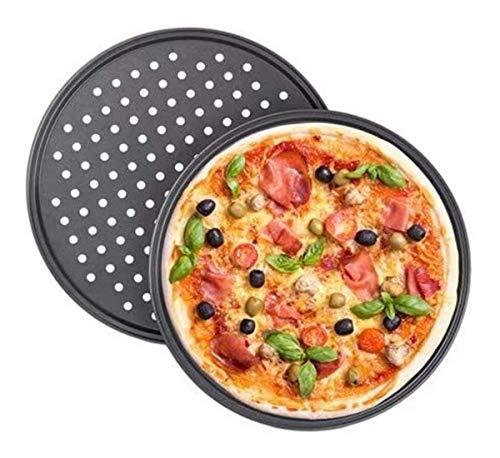 2 Pcs Perforated Tray Pizza Tray Baking Tray Non-Stick Baking Tray Solid Bottom Pizza Mold Baking