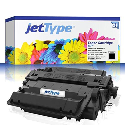 jetType Toner ersetzt HP CE255X / 55X für LaserJet P3015 / P3015dn / P3015x / LaserJet Enterprise P3015dn / LaserJet PRO M521dn, schwarz, 12.500 Seiten