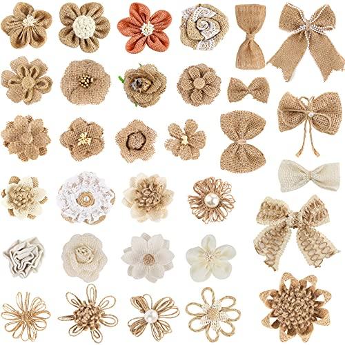 VGOODALL 32 Natürliche Sackleinen Blumen Set, 32 Verschiedene Stile Handgefertigte Jute-Blumen für DIY Kunst Handwerk Valentinstag Geschenk Hochzeit Dekoration