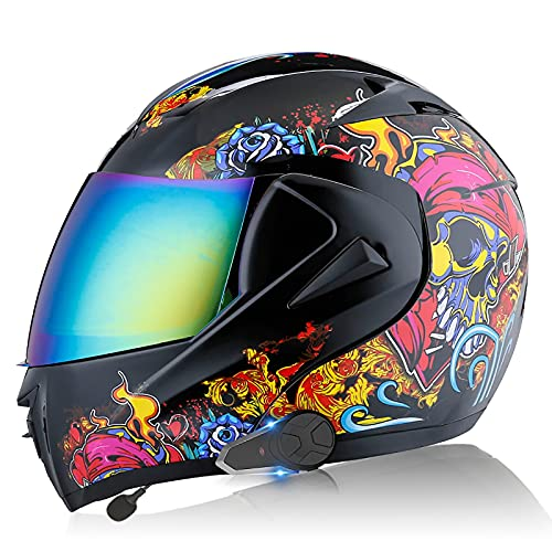 Casco de motocicleta con Bluetooth abatible hacia arriba, casco completo modular, cascos de protección 3 ciclistas emparejados / 2 ciclistas hablan al mismo tiempo ECE/DOT K,M=57-58CM
