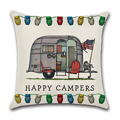 YANGYULU Cute RV Vintage Camper Travel Trailer Cotton Linen Home Decorative Throw Pillow Case Sofa Cushion Cover 18 x 18 (STYLY09)