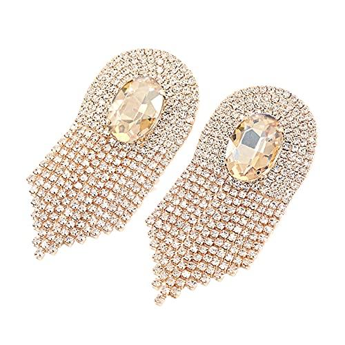 XPT Pendientes de mujer de moda brillantes con diamantes de imitación de borla para niñas, regalo de compromiso dorado
