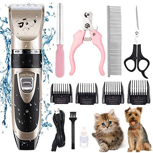 LTPAG Hundeschermaschine, Leise Profi Hund Katze Tierhaarschneidemaschine USB Wiederaufladbare Schnurlosen Schermaschine Schnurlosen Wiederaufladbare Elektrische Haarschneider Dog Grooming Clippers