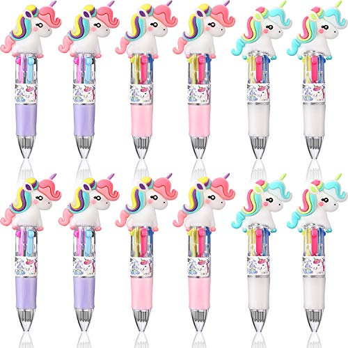 12 Pieces Mini Unicorn Pens 4-in-1 Multicolor Unicorn Ballpoint Pens Retractable Gel Ink Unicorn Pens Shuttle Unicorn Pens for Kids Office School Supplies Party Favors (Curly Hair Unicorn)