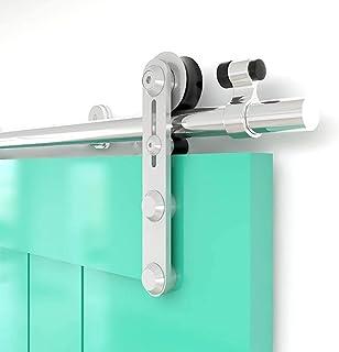TSMST 8FT-242 cm Riel para puerta corredera Kit de acero inoxidable para puertas correderas Kit accesorios para puerta individual I-estilo polea suspendida