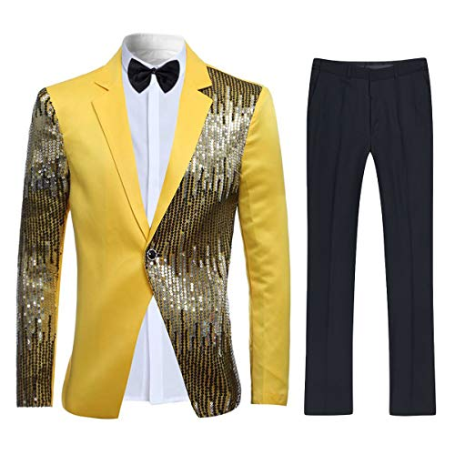 Cloudstyle Men's 2-Piece Suit Casual One Button Slim Fit Blazer Stylish Sport Coat & Trousers,Yellow,Large