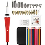 Wood Burning Kit, 42Pcs Full Set Woodburning Tool Quickly Heat Up Pyrography Pen Set with Wood Burning / Soldering / Carving, 12 Color Pencils, Stand & Portable Case